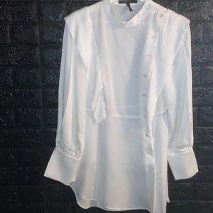 BCBGMaxAzria White Button-Up Midi Dress